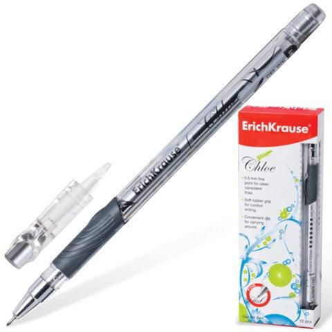 """Ручка гелевая ERICH KRAUSE """"Chloe"""", корпус прозрачный, фольгированный стержень, узел 0,5 мм, линия 0,4 мм, черная"""