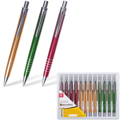 """Ручка шариковая BRAUBERG бизнес-класса """"Quantum"""", корпус ассорти, серебристые детали, 1 мм, синяя"""