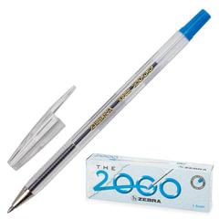 """Ручка шариковая ZEBRA """"The 2000metal tip"""", корпус прозрачный, толщина письма 0,7 мм, синяя"""