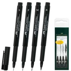 """Ручки капиллярные FABER-CASTELL, набор 4 шт., """"Pitt"""", художественные, 4 ширины линии, черные"""