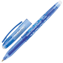 """Ручка """"Пиши-стирай"""" гелевая ПИФАГОР, узел 0,5 мм, линия 0,35 мм, с 2 ластиками, синяя"""
