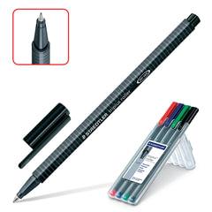"""Ручки-роллеры STAEDTLER (ШТЕДЛЕР, Германия), набор 4 шт., """"Triplus"""", трехгранные, 0,4 мм, черная, синяя, красная, зеленая"""