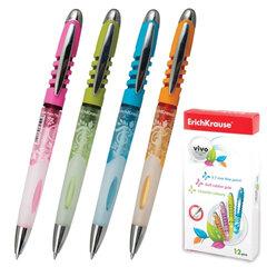 """Ручка шариковая ERICH KRAUSE автоматическая """"Vivo"""", корпус цветной, толщина письма 0,7 мм, синяя"""