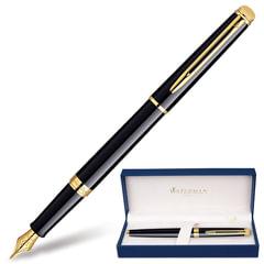 """Ручка перьевая WATERMAN """"Hemisphere Mars GT"""", корпус черный, латунь, позолоченные детали, S0920610, синяя"""