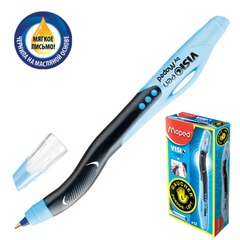 "Ручка шариковая масляная MAPED (Франция) ""Visio"", для левшей, узел 1 мм, линия 0,7 мм, синяя"