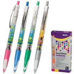Ручка шариковая BEIFA (Бэйфа) автоматическая, корпус ассорти, резиновые детали, пластиковый наконечник, 0,7 мм, синяя
