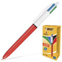 """Ручка шариковая BIC автоматическая """"4 Colours"""" (Франция), 4 цвета, корпус красный, 0,3 мм, синий, черный, красный, зеленый"""