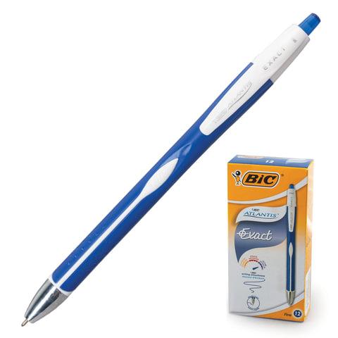 """Ручка шариковая автоматическая BIC """"Atlantis Exact"""", корпус синий, узел 0,7 мм, линия 0,3 мм, синяя"""