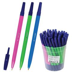 """Ручка шариковая СТАММ """"049"""", корпус флуоресцентный, синяя"""