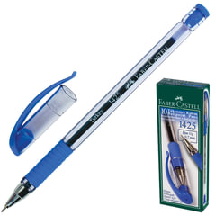 """Ручка шариковая FABER-CASTELL """"1425"""", корпус прозрачный, резиновый держатель, толщина письма 0,7 мм, синяя"""