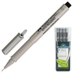 """Ручки капиллярные FABER-CASTELL """"Ecco Pigment"""", набор 4 шт., 0,1; 0,3; 0,5; 0,7 мм, пластиковая упаковка, черные"""