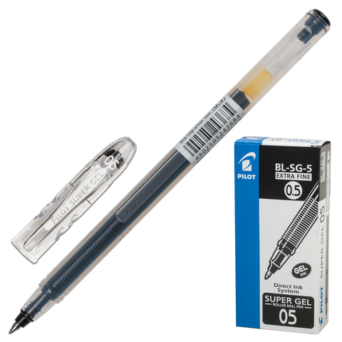 """Ручка гелевая PILOT """"Super Gel"""", корпус прозрачный, узел 0,5 мм, линия 0,3 мм, черная"""