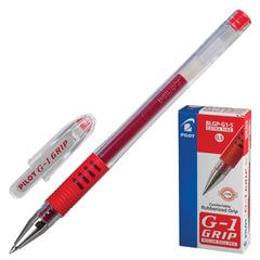 """Ручка гелевая PILOT """"G-1 Grip"""", корпус прозрачный, узел 0,5 мм, линия 0,3 мм, резиновый упор, красная"""