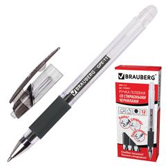 """Ручка """"Пиши-стирай"""" гелевая BRAUBERG """"Number 1"""", толщина письма 0,5 мм, резиновый держатель, черная"""