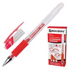 "Ручка ""Пиши-стирай"" гелевая BRAUBERG ""Number One"", корпус прозрачный, узел 0,5 мм, линия 0,35 мм, красная"