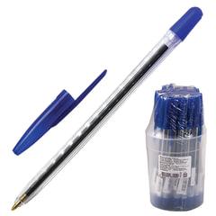 """Ручка шариковая СТАММ """"111"""", корпус прозрачный, толщина письма 1 мм, синяя"""