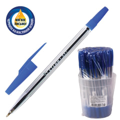 """Ручка шариковая масляная СТАММ """"511"""", корпус прозрачный, толщина письма 0,7 мм, синяя"""
