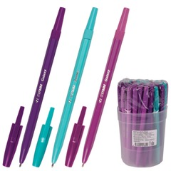 """Ручка шариковая СТАММ """"Галактика"""", корпус ассорти, толщина письма 1 мм, синяя"""