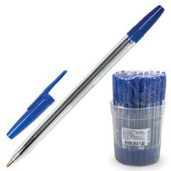 """Ручка шариковая СТАММ """"Оптима"""", корпус прозрачный, толщина письма 1 мм, синяя"""