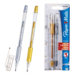 """Ручки гелевые PAPER MATE, набор 2 шт., """"PM 300"""", узел 1,3 мм, линия 1 мм (золотая, серебряная)"""