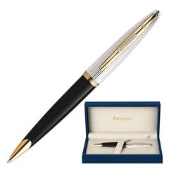"""Ручка шариковая WATERMAN """"Carene Deluxe GT"""", корпус черный, нержавеющая сталь, позолоченные детали, S0700000, синяя"""