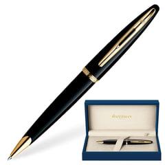 """Ручка шариковая WATERMAN """"Carene GT"""", корпус черный, нержавеющая сталь, позолоченные детали, S0700380, синяя"""