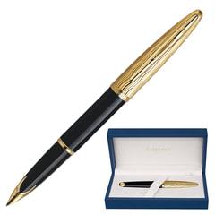 """Ручка перьевая WATERMAN """"Carene Essential GT"""", корпус черный, нержавеющая сталь, позолоченные детали, S0909750, синяя"""