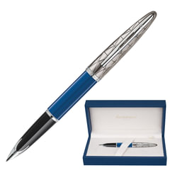 """Ручка перьевая WATERMAN """"Carene Lacquer ST"""", корпус синий лак, нержавеющая сталь, посеребренные детали, 1904558, синяя"""