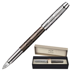 """Ручка PARKER """"5-й пишущий узел"""" """"IM Premium Chiselled CT"""", корпус серый, латунь, хромированные детали, S0976070, черная"""