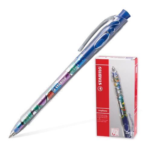 """Ручка шариковая автоматическая STABILO """"Tropikana"""", корпус ассорти, узел 0,7 мм, линия 0,38 мм, синяя"""