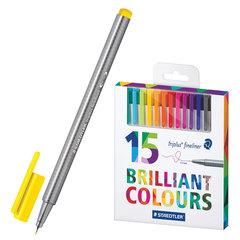 Ручки капиллярные STAEDTLER (ШТЕДЛЕР, Германия), набор 15 шт., трехгранные, толщина письма 0,3 мм, цвета ассорти