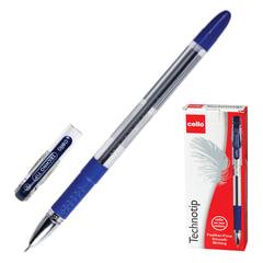 """Ручка шариковая масляная CELLO """"Technotip"""", корпус прозрачный, толщина письма 0,6 мм, резиновый держатель, синяя"""