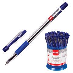 """Ручка шариковая масляная CELLO """"Slimo Grip"""", корпус прозрачный, толщина письма 0,7 мм, резиновый держатель, синяя"""