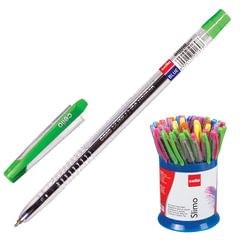 """Ручка шариковая масляная CELLO """"Slimo"""", корпус прозрачный, толщина письма 0,7 мм, в пластиковом стакане, синяя"""