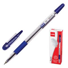 """Ручка шариковая масляная CELLO """"Pronto"""", корпус прозрачный, толщина письма 0,6 мм, резиновый держатель, синяя"""