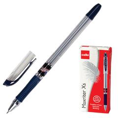 """Ручка шариковая масляная CELLO """"Maxriter XS"""", корпус прозрачный, толщина письма 0,7 мм, резиновый держатель, синяя"""