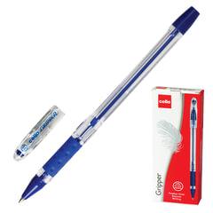 """Ручка шариковая масляная CELLO """"Gripper"""", корпус прозрачный, толщина письма 0,5 мм, резиновый держатель, синяя"""