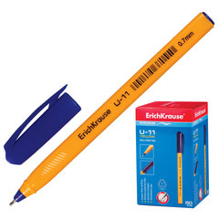 "Ручка шариковая масляная ERICH KRAUSE ""Ultra Glide U-11"", корпус желтый, узел 0,7 мм, линия 0,35 мм, синяя"