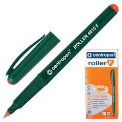 Ручка-роллер CENTROPEN, трехгранная, корпус зеленый, толщина письма 0,3 мм, красная