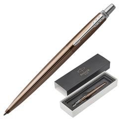 """Ручка подарочная шариковая PARKER """"Jotter Premium Carlisle Brown Pinstripe CT"""", коричневый корпус, гравировка, синяя, 1953201"""