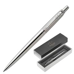 """Ручка подарочная шариковая PARKER """"Jotter Premium Stainless Steel Diagonal CT"""", серебристый корпус, гравировка, синяя, 1953197"""