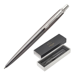 """Ручка подарочная шариковая PARKER """"Jotter Premium Oxford Grey Pinstripe CT"""", серый корпус, гравировка, хром, синяя, 1953199"""