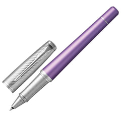 """Ручка-роллер PARKER """"Urban Premium Violet CT"""", корпус фиолетовый, анодированный алюминий, хром, 1931622, черная"""