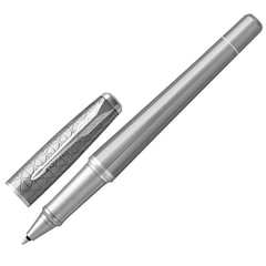"Ручка-роллер PARKER ""Urban Premium Silvered Powder CT"", корпус серый, латунь с PVD-напылением, хром, 1931586, черная"