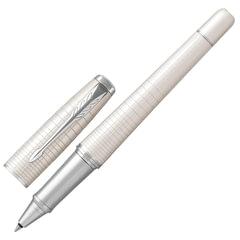 """Ручка-роллер PARKER """"Urban Premium Pearl Metal CT"""", корпус жемчужно-белый, лак, хромированное покрытие деталей, 1931610, черная"""