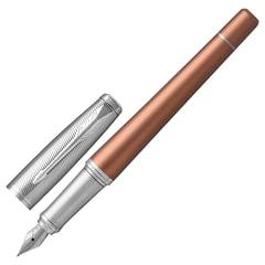 """Ручка перьевая PARKER """"Urban Premium Orange CT"""", корпус светло-коричневый, анодированный алюминий, хром, 1931625, синяя"""