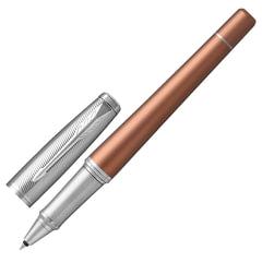 """Ручка-роллер PARKER """"Urban Premium Orange CT"""", корпус светло-коричневый, анодированный алюминий, хром, 1931626, черная"""