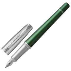 """Ручка перьевая PARKER """"Urban Premium Green CT"""", корпус зеленый, алюминий, хромированное покрытие деталей, 1931617, синяя"""