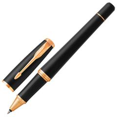 """Ручка-роллер PARKER """"Urban Core Muted Black GT"""", корпус черный, латунь, матовый лак, позолоченные детали,1931584, черная"""