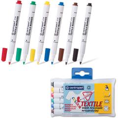 Маркеры для ткани CENTROPEN, набор 6 цв., круглый наконечник, 1,8 мм, черный, коричневый, красный, желтый, зеленый, синий